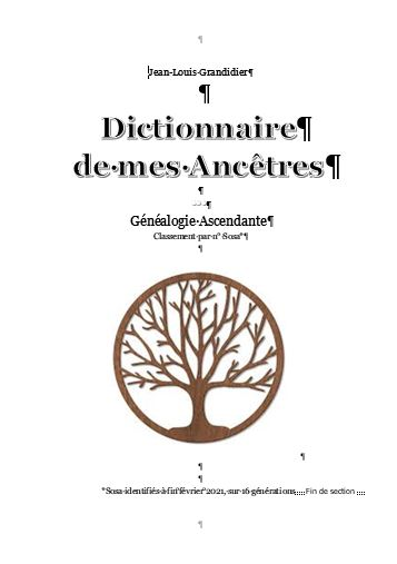 dictionnaire de mes ancetres